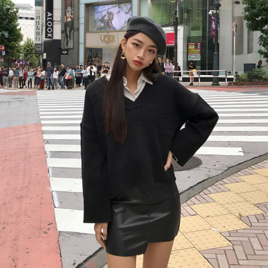 欲しいかファニーブイニット ニット/セーター/ニット/韓国ファッション