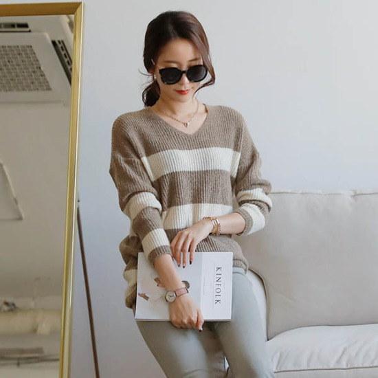 シークフォックスジャネル・ストライプニット ニット/セーター/ニット/韓国ファッション