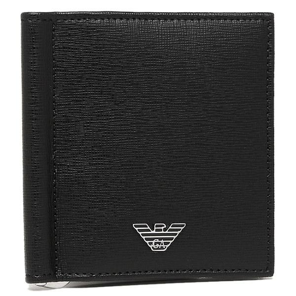 エンポリオアルマーニ 財布 EMPORIO ARMANI YEML07 YC91E 80001 メンズ 二つ折り財布 ブラック