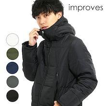中綿ジャケット メンズ アウター フードジャケット ボリュームネック 軽量 防寒 黒 白 青 緑 カーキ ネイビー 無地 あったか 暖かい ジャンパー ジャンバー 大きいサイズ メンズファッション 秋