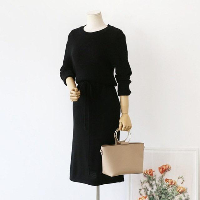 腰文字列ラウンドニットワンピース30519デイリールックkorea women fashion style