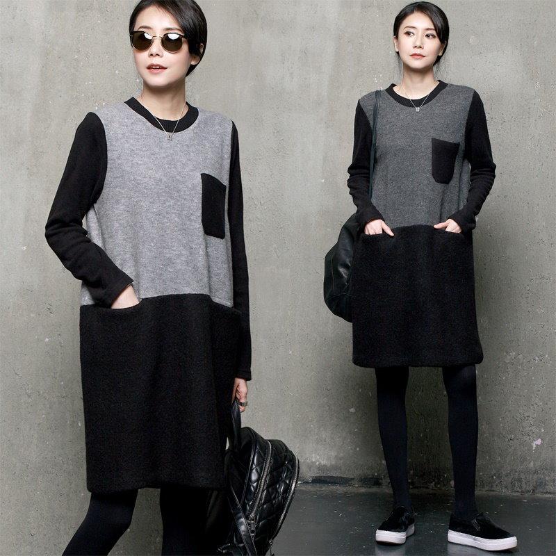 A273 あったかポケットポイントワンピース/ミディワンピース/ポケットワンピース/ルーズフィットワンピース/ロングブラウス/韓国ファッション