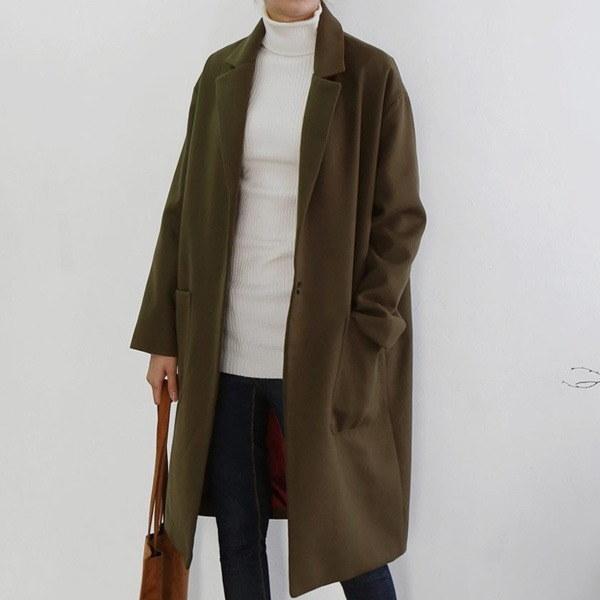 カラー・ブロック一チェイル毛織のロングコート 女性のコート/ 韓国ファッション/ジャケット/秋冬/レディース/ハーフ/ロング/