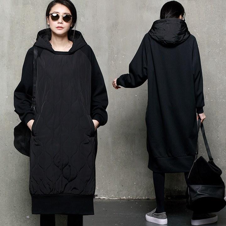 A292 キルティング中綿フードロングTシャツ/ワンピース/ルーズフィットTシャツ/マンツーマン/中綿/韓国ファッション
