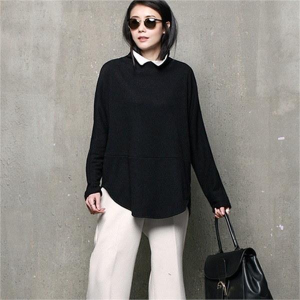 A284ユニーク配色タートルネックロング・ニットnew 女性ニット/カーディガン/タートルネックニット/韓国ファッション