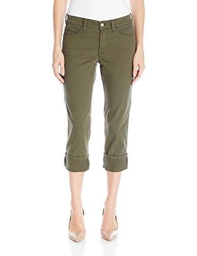 NYDJ Womens Dayla Wide Cuffed Capri Jeans in Colored Bull Denim, Fatigue, 4 Petite