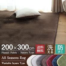 ラグ カーペット 洗える オールシーズン 200×300 防ダニ ラグマット 滑り止め付 ラグカーペット 夏 冬 ホットカーペット対応 フランネル ウォッシャブル 絨毯 リビング 床暖房対応 送料無料