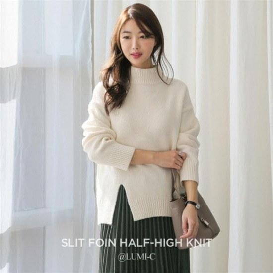 るみさん行き来するようにるみさんるみさんスリットフォアインバンハイ・ニット ニット/セーター/ニット/韓国ファッション