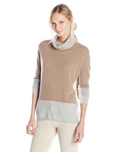Magaschoni Womens Color Block Sweater, Manor House/Stone/Blanc, X-Large