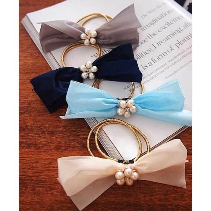 上品な輝きを放つパール 真珠 花びら立体リボンモチーフヘアゴム!! レディース ヘアアクセサリー ヘアゴム まとめ髪 髪飾り ブレスレット 4色展開