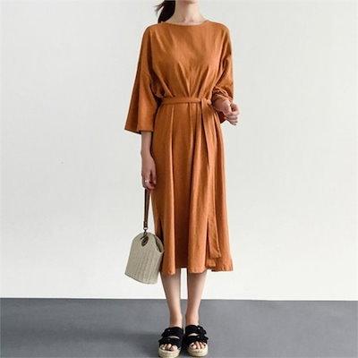 るみさん行き来するようにるみさんるみさんスリットイージールーズフィットワンピース プリントのワンピース/ 韓国ファッション