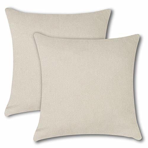 Soleebee クッションカバー 45×45CM 北欧 防水 無地 装飾枕カバー ソファ背当て 座布団カバー 2枚セット (クリーム)