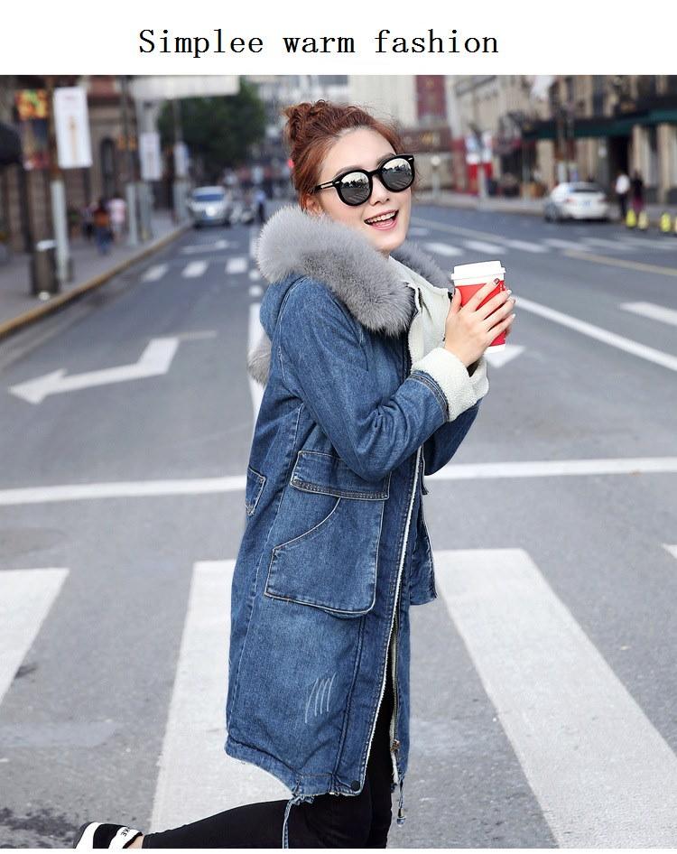 冬のジャケット女性ロングデニムフード付きパーカー女性のコートプラスサイズ厚く暖かいラムズウールライニング生き抜くウインドブレーカー