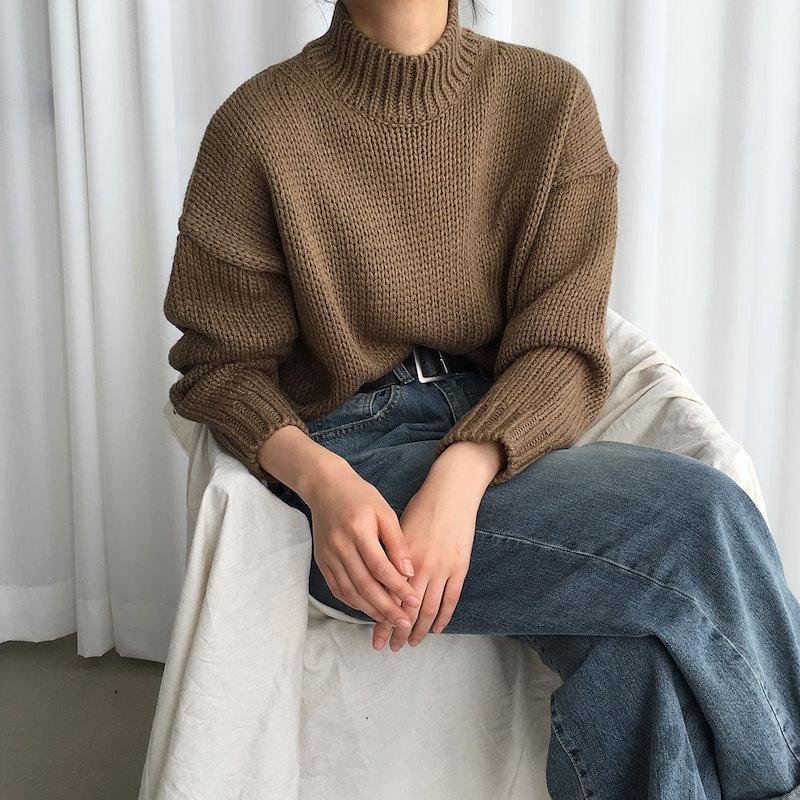 [ラルム】アルパカポーラニット4col korea fashion style