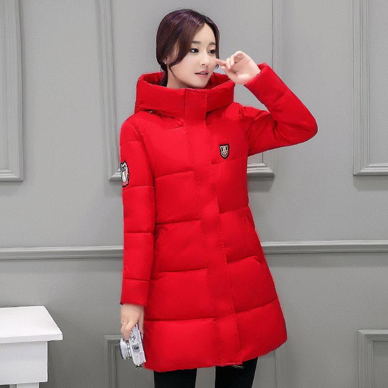 Kuyomens新しいファッション長い冬のジャケットの女性スリム女性のコート厚みのパーカーダウンコットンの服赤服フード付きの学生