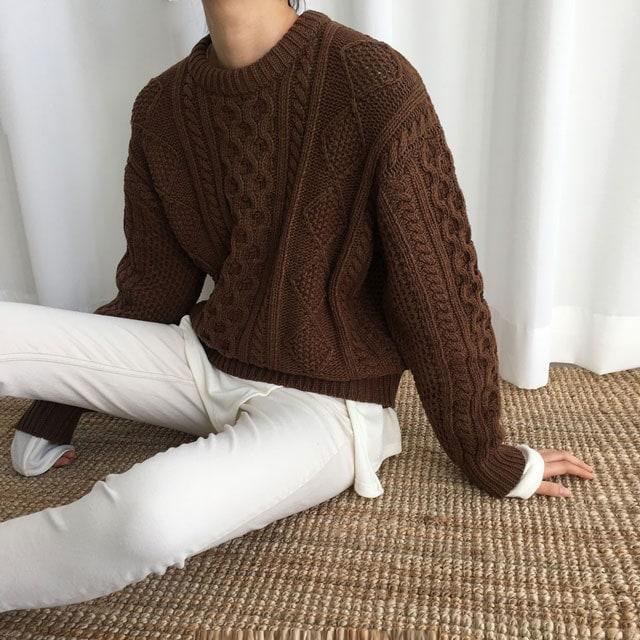 [ラルム】アペルプレッツェルニット3col korea fashion style
