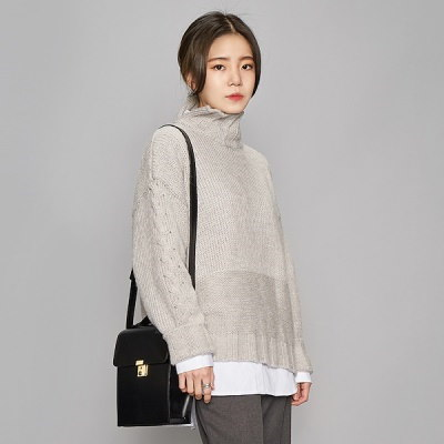[Ain] slit turtle neck alpaca knit (4 colors)