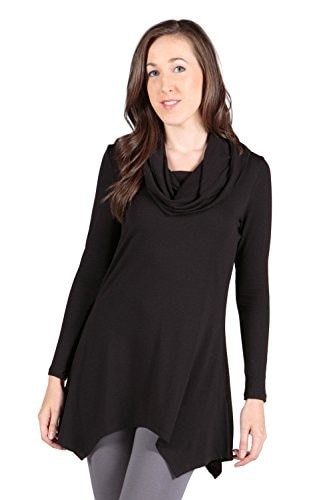 Womens Bamboo Cowl Neck Tunic - Usha (Black, Medium) Ideas for Mothers Day WB1102-BLK-M