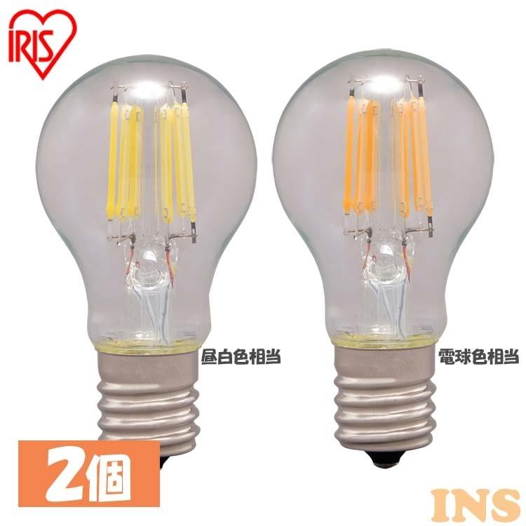 【2個セット】LEDフィラメント電球 ミニクリプトン球 E17 40W相当 440lm 昼白色相当 電球色相当 LDA4N-G-E17-FC LDA4L-G-E17-FC 電球 アイリスオーヤマ
