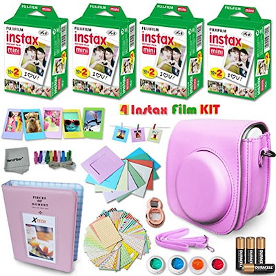 Xtech PINK Accessories Kit for Fuji FujiFilm Instax Mini 8 Cameras includes: 80 Instax Film + Custom Fitted Case for Fuji Mini 8 Cameras + Photo Album + Assorted Stickers / Paper Frames + MORE
