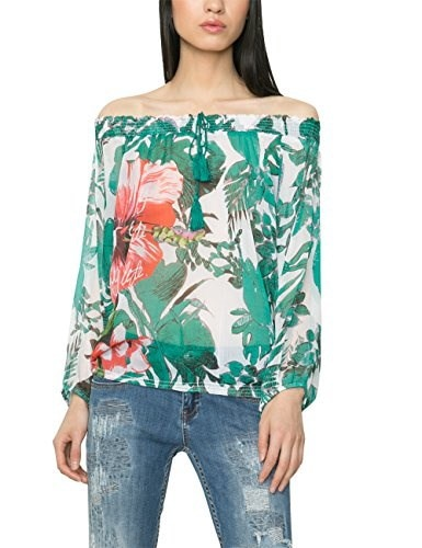 Desigual Womens Woven Blouse Long Sleeves 3, Green, Large