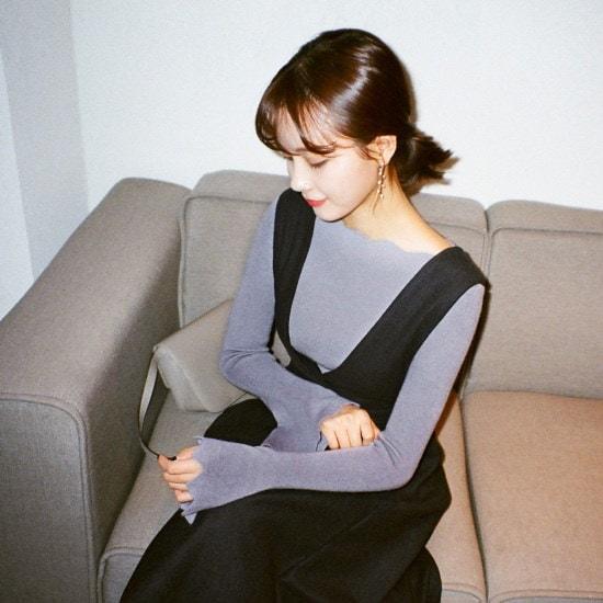 チェリーココlovisa、knitC712MSKN37ゴルジニット泣くレイヤード波カッティングG ニット/セーター/韓国ファッション
