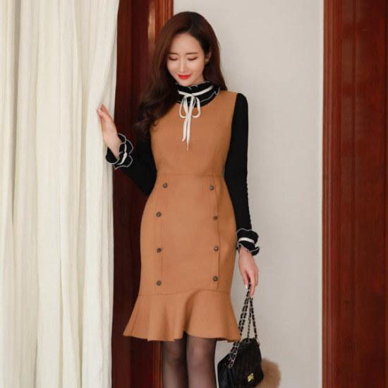 スタイルオンミルイス・エンジェルダブルボタン・マーメイドワンピース 一(チェイル)毛織/・ツイードワンピース/ 韓国ファッション