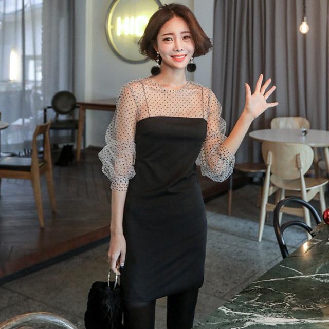 ドットネットシースルーブラックワンピースパチルク会ルックデイリールックkorea women fashion style