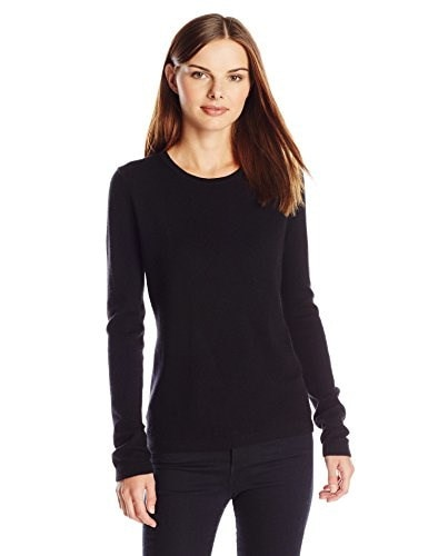 Lark & Ro Womens 100% Cashmere Slim Fit Crewneck Sweater, Black, Large