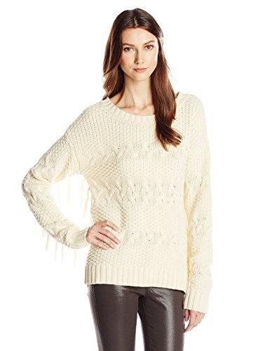 Blu Pepper Womens Fringe Pullover Sweater, Natural, Medium