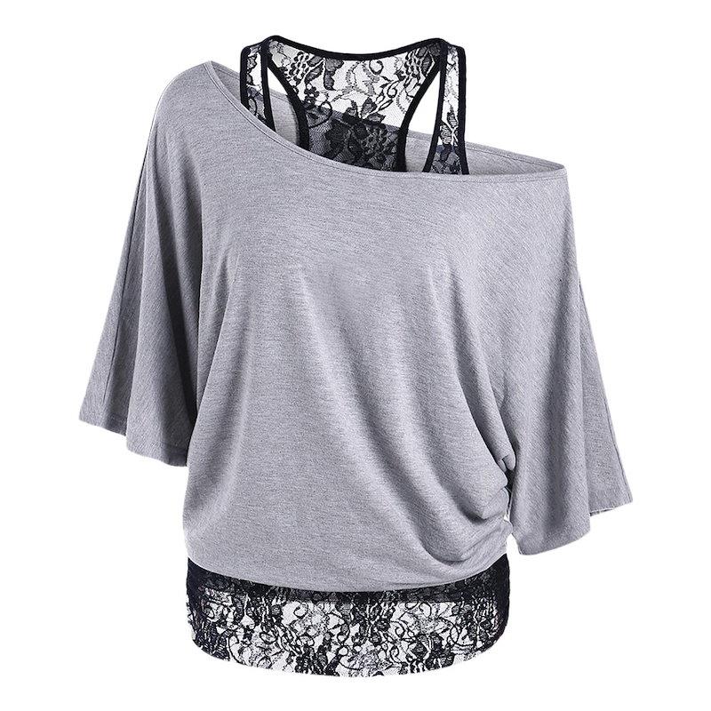 スタイリッシュなスキューカラー半袖レースのレイヤードの女性のTシャツ