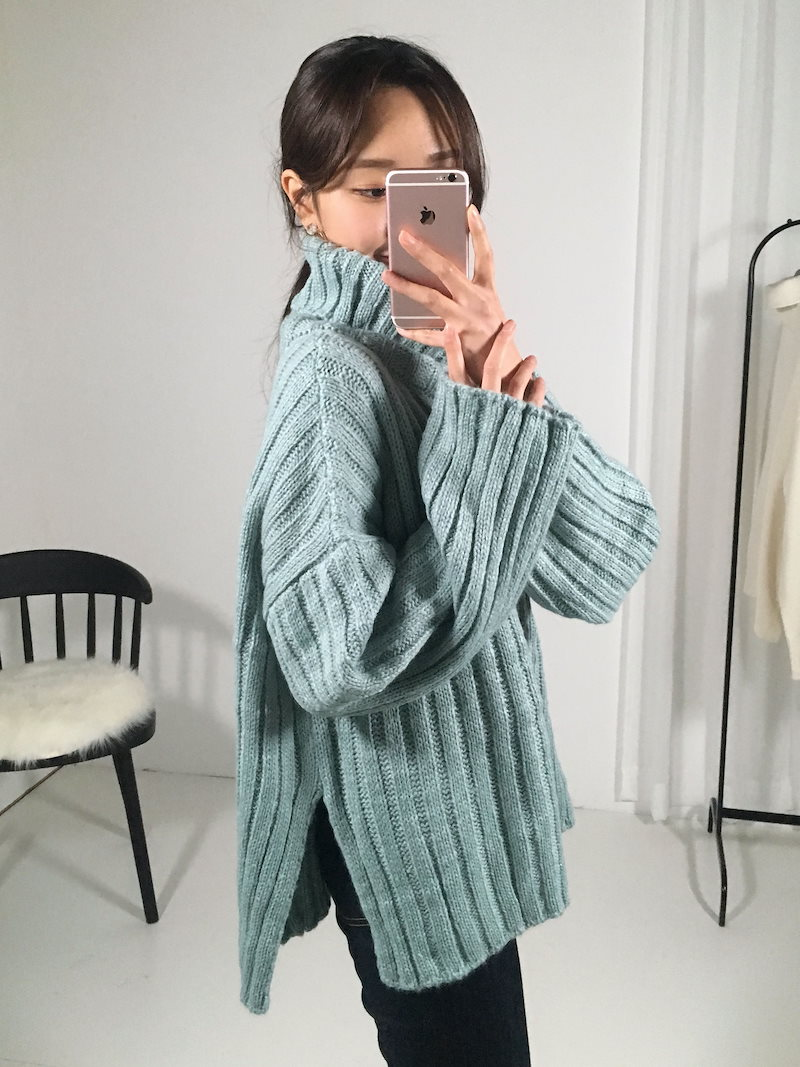フスタートルネックスリット段ボールニットkorea fashion style