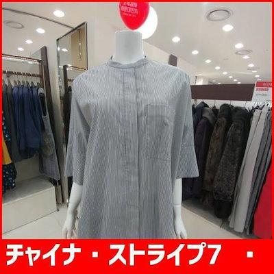 チャイナ・ストライプ7部小売ブラウス /ソリ/ッドシャツ/ブラウス/ 韓国ファッション