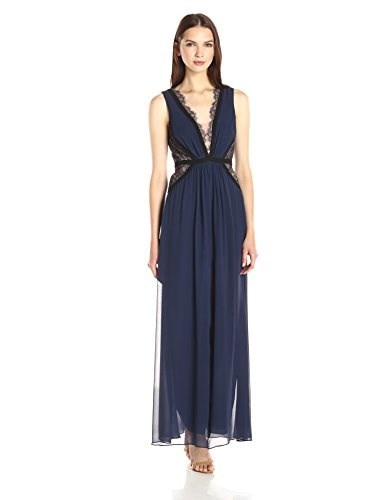 BCBGMax Azria Womens Klarissa Gown with Lace Cut Outs On Bodice, Dark Navy Combo, 6