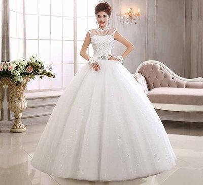 ノースリーブ ウェディングドレス レース 韓国風 水晶 刺繍 花嫁 礼服 スイート プリンセス系 XCQD56