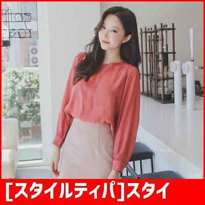 [スタイルティパ]スタイルティパls8375ボルルミンラウンドブラウス /ソリッドシャツ/ブラウス/ 韓国ファッション