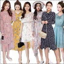 Fashions2018新型が出回るワンピース/ワンピース/韓国ファッション/韓国ファッション ワンピース 細身 腰高め レディース プリント 清涼感 フリル シフォンワンピース 大人上品 パーティー