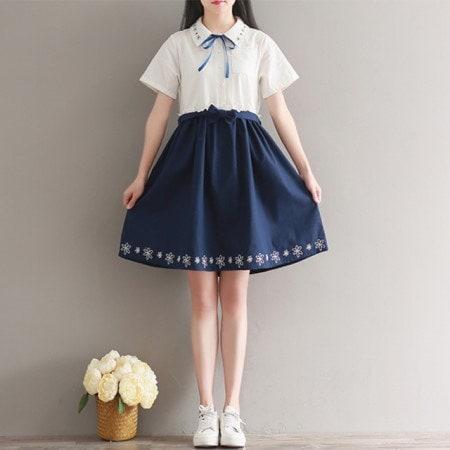 リネン花の刺繍ワンピースクオリティが他のリネンワンピースkorea fashion style