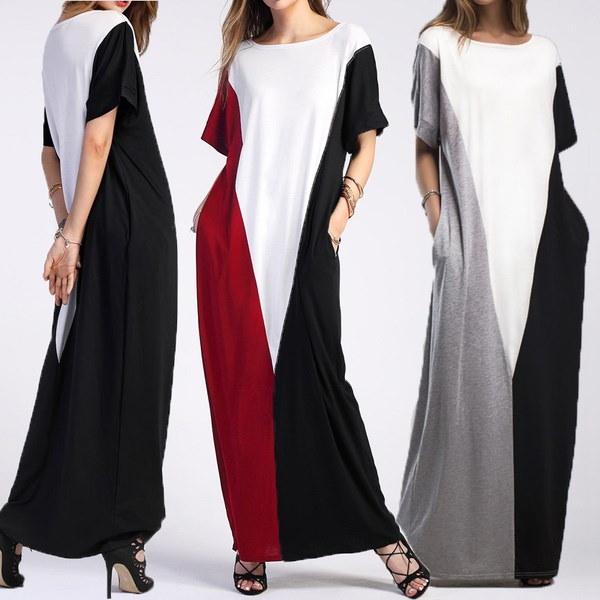 新しいセクシーなファッション女性ラウンドネック特大カフトンTシャツドレスパーティロングマキシドレス