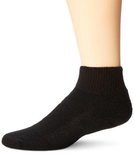 Thorlo Unisex Moderate Cushion Walking Mini-Crew Sock,Black,Medium/6.5-10