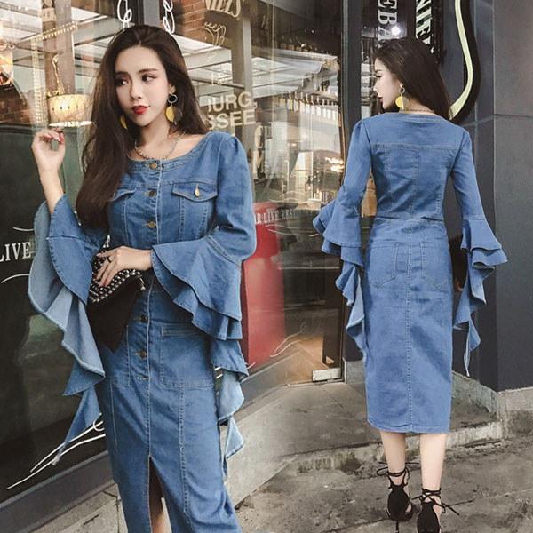 2018新品 初春 韓国ファッション 森ガール系 レディース ワンピース 気質修身 長袖 上質