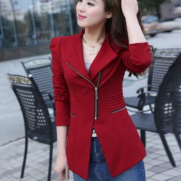 レディースレジャーカジュアルスリムレディーススーツコートブリーザジャケットアウターウェアファッション