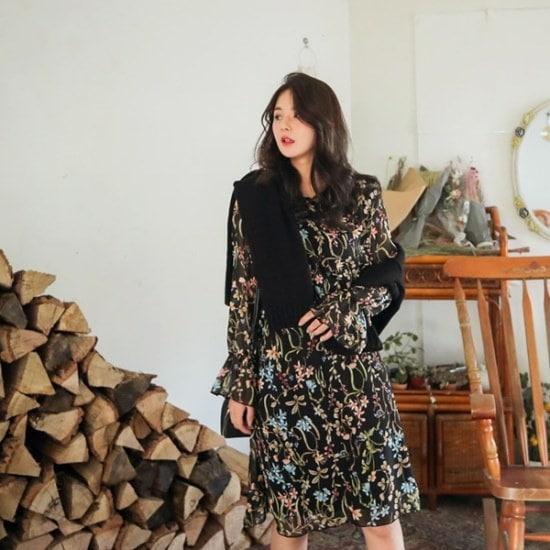 ロロテンリリーピアOPS プリントのワンピース/ 韓国ファッション