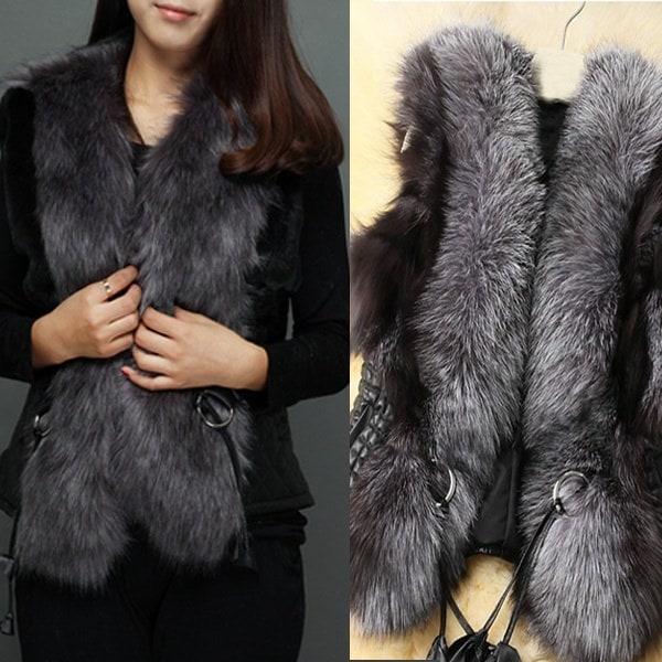 新しい女性のファッション毛皮の首のベスト短いパラグラフWome nsの革のベスト毛皮のコート