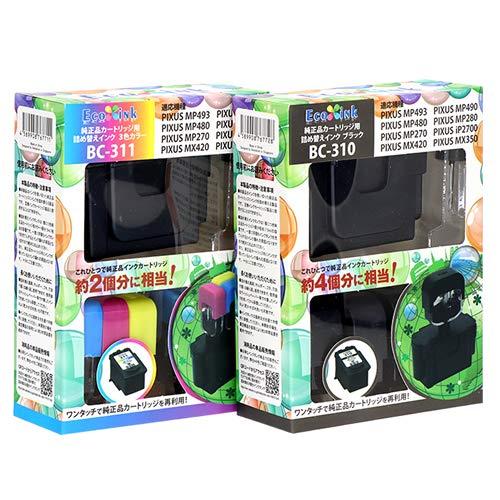【エコインク/Ecoink】純正品カラー2個、ブラック4個分に相当!BC-311/BC-310〔キヤノン/Canon〕対応 詰め替えインク bc311 bc310 キャノン プリンター用(純正品カラー