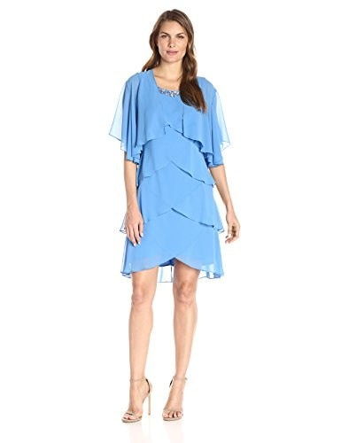 S.L. Fashions Womens Short Chiffon Jacket Over Tiered Dress, Lagoon, 18
