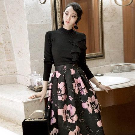 【ディントゥ] E1686ヘッズショルダーフリルニットトップkorea fashion style
