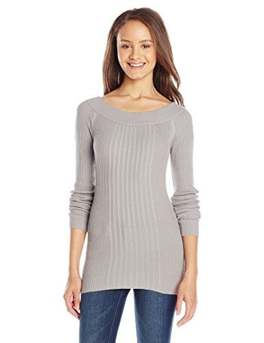 Derek Heart Juniors Long Sleeve Rib Ballet Scoop Neck Sweater, Grey, Large