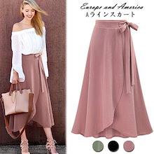 ラップ風Aラインスカート♪全3色。ウエストリボン付き。春はやっぱりトレンチスカート🌸インスタでも話題❤\#トレンチスカート/💛】 韓国ファッション