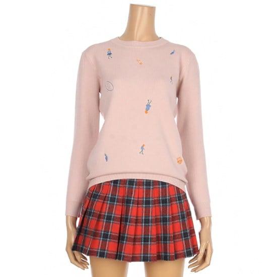 [コインコーズ]ラウンド人刺繍ポイントニット(IY8WP6500) ニット/セーター/パターンニット/韓国ファッション